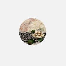 paris black lace white rose Mini Button