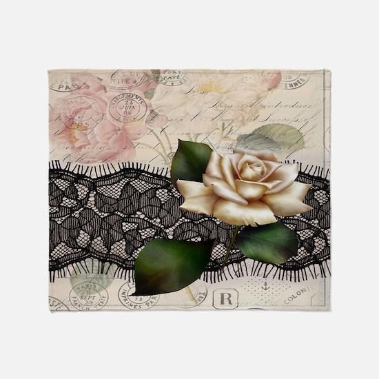 paris black lace white rose Throw Blanket