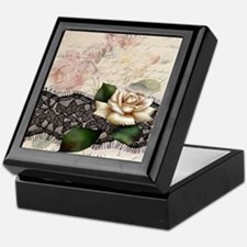paris black lace white rose Keepsake Box