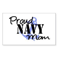 Proud Navy Mom Blue Anchor Rectangle Decal