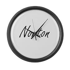 Norton surname artistic design Large Wall Clock