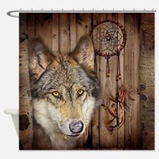 vintage Americana wild wolf  Shower Curtain