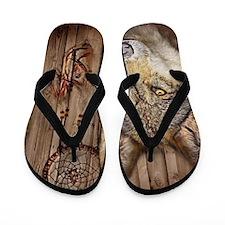 vintage Americana wild wolf  Flip Flops