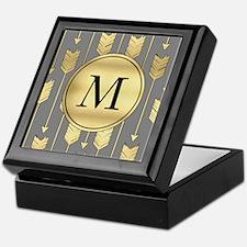 Gray and Faux Gold Arrows Monogram Keepsake Box