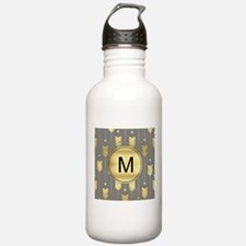 Gray and Faux Gold Arrows Monogram Water Bottle