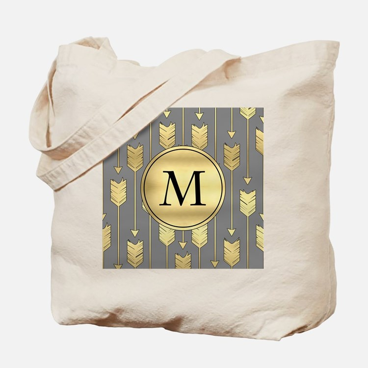 Gray and Faux Gold Arrows Monogram Tote Bag