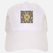 Gray and Faux Gold Arrows Monogram Baseball Baseball Baseball Cap
