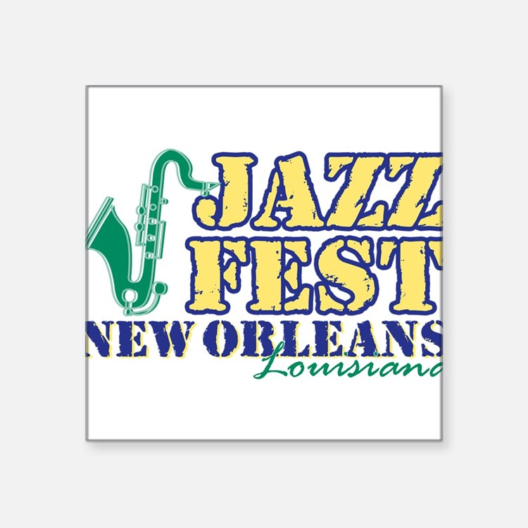 """Jazz Fest NOLA sax Square Sticker 3"""" x 3"""""""