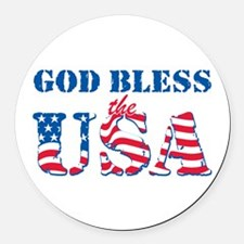 God Bless the USA Round Car Magnet