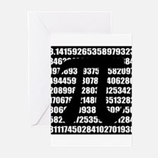 Pi number in black Greeting Cards