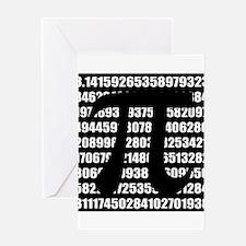 Pi number in black Greeting Cards
