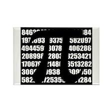 Pi number in black Magnets