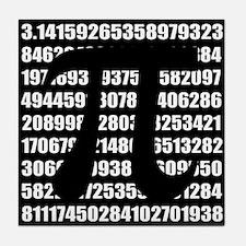 Pi number in black Tile Coaster