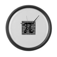 Pi number in black Large Wall Clock