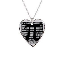 Pi number in black Necklace Heart Charm
