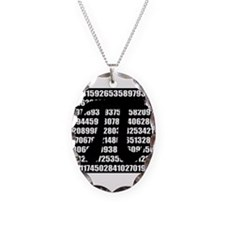 Pi number in black Necklace Oval Charm
