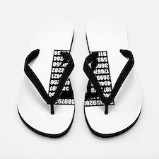 Pi number in black Flip Flops
