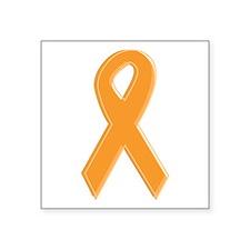 """Orange Aware Ribbon Square Sticker 3"""" x 3"""""""