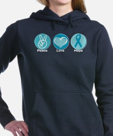 Cute Ovarian cancer ribbon Women's Hooded Sweatshirt
