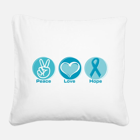 Funny Teal Square Canvas Pillow