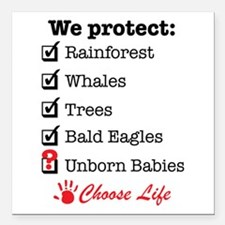 "We Protect Square Car Magnet 3"" x 3"""