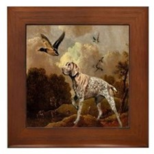 duck hunter hunting dog Framed Tile