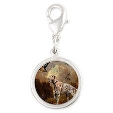 duck hunter hunting dog Silver Round Charm