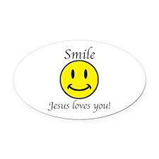 Smile Jesus Oval Car Magnet