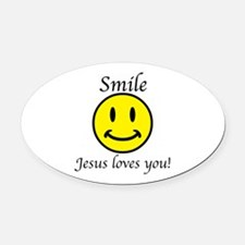 Smile Jesus Oval Car Magnet