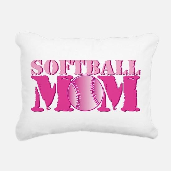 Softball Mom pink Rectangular Canvas Pillow