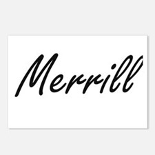 Merrill surname artistic Postcards (Package of 8)