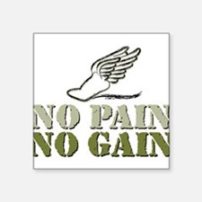 "No Pain No Gain Track Square Sticker 3"" x 3"""