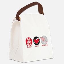 Cute Peace love run Canvas Lunch Bag