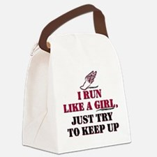Run like a girl red Canvas Lunch Bag