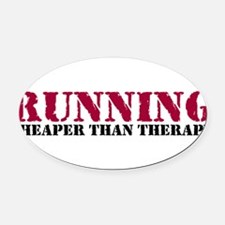 Running therapy red Oval Car Magnet