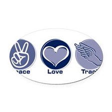 Cute Peace love running Oval Car Magnet