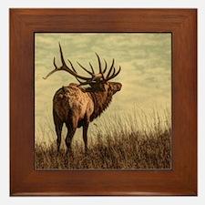 rustic western wild elk Framed Tile