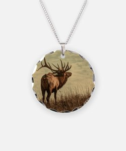 rustic western wild elk Necklace Circle Charm