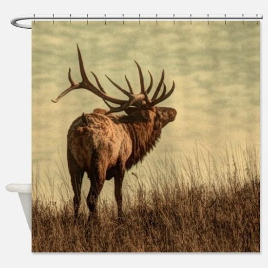 rustic western wild elk Shower Curtain