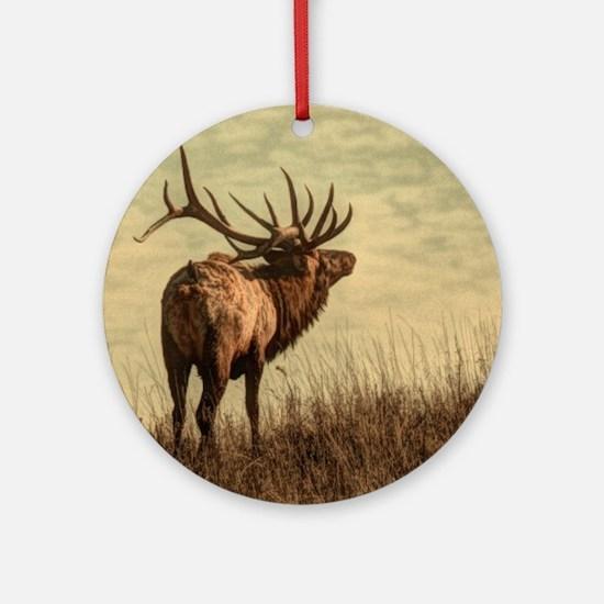 rustic western wild elk Round Ornament