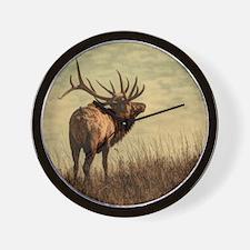 rustic western wild elk Wall Clock