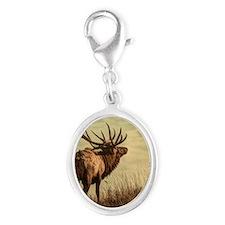 rustic western wild elk Silver Oval Charm