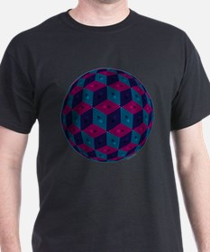 Spherized Pink, Purple, Blue and Black Hex T-Shirt