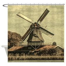 farm landscape vintage windmill Shower Curtain