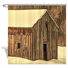 western winter old barn Shower Curtain