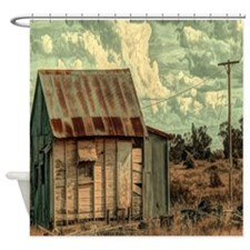 rural distressed old farm  Shower Curtain