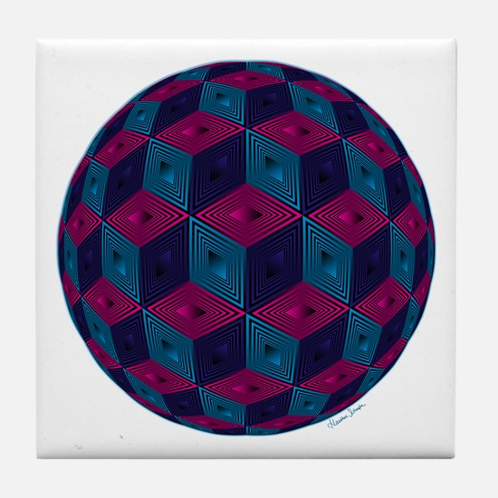 Spherized Pink, Purple, Blue and Blac Tile Coaster