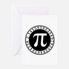 Pi sign in circle Greeting Cards
