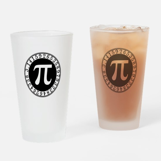 Pi sign in circle Drinking Glass