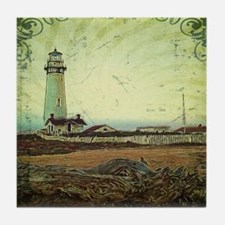 coastal nautical vintage lighthouse Tile Coaster